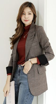 StyleOnme_Check Print Two Button Slim Fit Jacket Classy Outfits For Women, Blazer Outfits For Women, Classy Winter Outfits, Stylish Work Outfits, Business Casual Outfits, Professional Outfits, Beautiful Outfits, Clothes For Women, Korean Winter Outfits