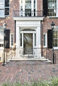 Traditional Brick Row House Front Door