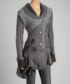 Take a look at this Montanaco Gray Patchwork Ribbed Ruffle Wool-Blend Cardigan on zulily today!