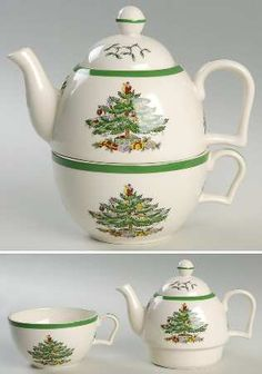 Individual Teapot & Lid with Cup [TPIS] in Christmas Tree (Green Trim) by Spode