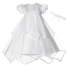 Small World Newborn Girls' Satin Ribbon Handkerchief Dress - White