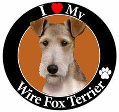 Me encanta mi imán del coche Wire Fox Terrier con por Petasauraus