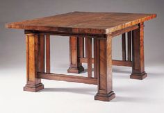 Curly Cypress Dining Table by Frank Lloyd Wright for the Isabel Roberts House, River Forest, Illinois Mission Furniture, Craftsman Furniture, Furniture Decor, Furniture Design, Frank Lloyd Wright, Craftsman Style Homes, Craftsman Bungalows, Wood Table, Dining Table