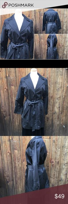 Talbots Trench Coat Black Car Length Trench Coat. Three button front closure, tie belt at waistline, 52% Cotton/48% Poly. Size LP.  Coat hardly worn in perfect condition. Talbots Jackets & Coats Trench Coats