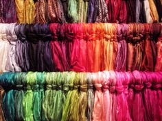 Thai silk scarves in a rainbow of colors!