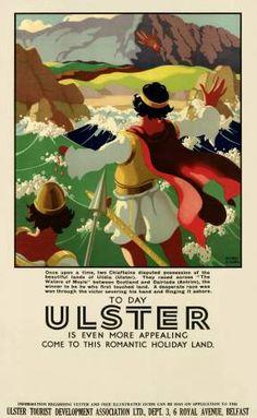 Irish Travel Poster, Finn McCool, Red hand of Ulster, Northern Ireland