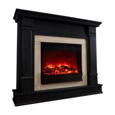 Black electric fireplace with a remote control and screen. Product: Electric fireplace Construction Material: ...
