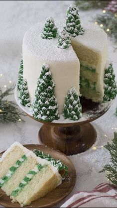 photo of a christmas tree cake covered in buttercream pine trees and dusted wi. A photo of a christmas tree cake covered in buttercream pine trees and dusted wi., A photo of a christmas tree cake covered in buttercream pine trees and dusted wi. Christmas Tree Cake, Christmas Sweets, Christmas Cooking, Christmas Christmas, Creative Christmas Food, Christmas Birthday Cake, Christmas Wedding Cakes, Christmas Parties, Christmas Bake Off