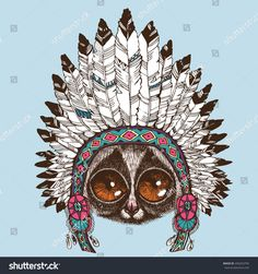 Portrait of a slow loris with native american indian chief headdress. Hand drawn vector illustration for your blog, logo and other design.