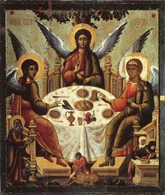 The Holy Trinity- handmade Greek orthodox Russian byzantine icon Byzantine Icons, Byzantine Art, Religious Icons, Religious Art, Architecture Religieuse, Jesus Christus, Saint Esprit, Russian Icons, Old Testament