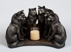 Wolf Pack Candle Holder  Council of Wolves  by WindstoneEditions