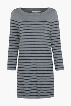 Seasalt stripes on a cotton knit dress. A relaxed jumper dress that's a round neck, solid coloured yoke and a short style. Layer over jeans or leggings!