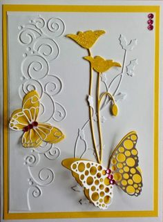 POPPIES. Charmingly Creative: Garden Butterflies is where I found this card which uses the Prim Poppy die with other Memory Box dies. Names of these are given on the blog.