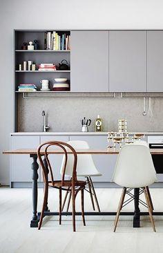 minimal kitchen-cum-dining room
