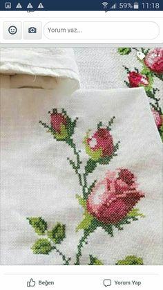 Cross Stitch, Cross Stitch Rose, Towels, Bias Tape, Roses, Stitching, Embroidery, Punto De Cruz, Seed Stitch