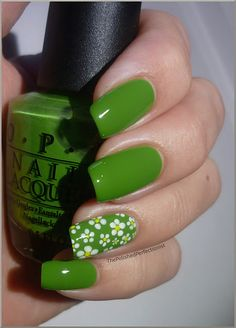 OPI Green-wich Village + daisies with a dotting tool (need to try cute flowers like these!!)