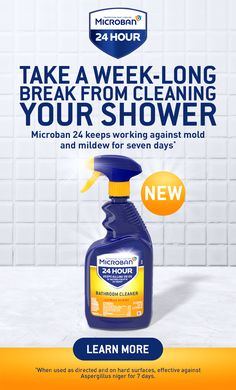 You could keep wiping down your shower every day, or you could use Microban 24 Bathroom Cleaner. When used as directed, it prevents the recurrence of mold and mildew in your shower for up to a full week.* If only all household chores were this simple. Tap the Pin, and find out more. Diy Home Cleaning, Household Cleaning Tips, Household Chores, House Cleaning Tips, Cleaning Hacks, Cleaning Supplies, Diy Cleaning Products, House Chores, Shower Cleaner