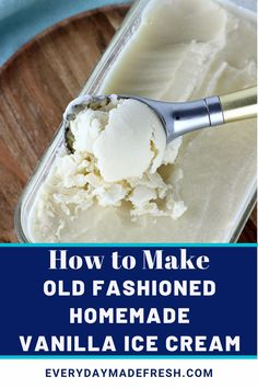 This recipe for Old Fashioned Homemade Vanilla Ice Cream has been in my family long before I was born. It's the one summer staple that everyone loves! And, you won't find heavy cream in our family recipe. Best Dessert Recipes, Fun Desserts, Holiday Recipes, Delicious Desserts, Homemade Vanilla, Homemade Ice Cream, Old Fashioned Ice Cream, Good Food, Yummy Food