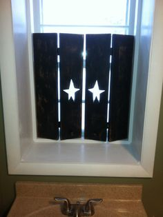 Items similar to Primitive Style Custom Bifolding Wooden Star Interior Shutters on Etsy Primitive Bathrooms, Primitive Kitchen, Primitive Crafts, Primitive Country, Rustic Kitchen, Kitchen Ideas, Country Crafts, Country Decor, Country Interior