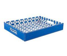Bandeja de madera DM y poliuretano - azul Mykonos, Home Living, Ice Cube Trays, Decorative Boxes, Granada, Home Decor, Wooden Trays, Blue Nails, Trends