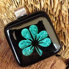 Green Glass Necklace Luck Pendant Fused Glass Shamrock by GlassCat