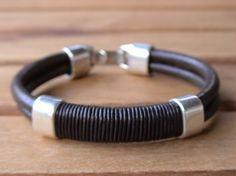 Black leather bracelets, Black bracelets, mens leather bracelets, mens bracelets,  silver bracelets, leather Bracelets, leather bracelets