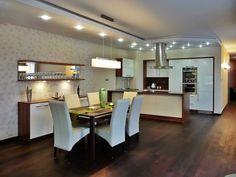 Modern konyha. A beépített konyhabútort konyhasziget választja el az étkezőtől. Conference Room, Table, Furniture, Home Decor, Decoration Home, Room Decor, Tables, Home Furnishings, Home Interior Design