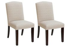Marie Flax Side Chairs, Pair