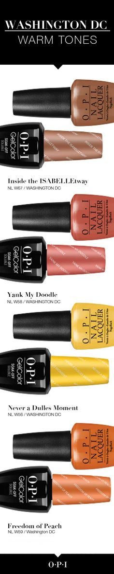 Meet the Warm Tones from the New OPI Washington DC Collection! Introducing OPI's fall collection inspired by our nation's capital, Washington DC. OPI is delighted to partner with Kerry Washington on these must-have shades for fall. Give your nails the presidential treatment with #OPIWashingtonDC bold colors and looks. Get your hands on them today!