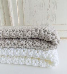 Super soft chunky knit crocheted baby blanket by PeanutTreeDesigns