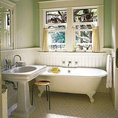 vintage bathroom, soft green walls and beadboard, pedestal sink, clawfoot tub, craftsman, cottage chic - Favorite
