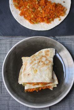 Vegetarian Quesadilla with Carrot and Leek