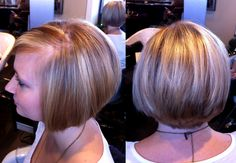 highlighting and lowlighting using Wella colors and lighteners... love that short cut that frames her face perfectly