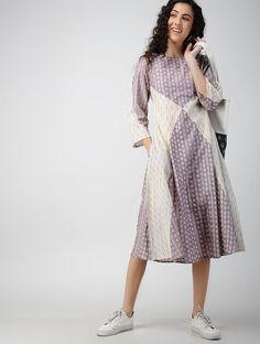 Purple-Ivory Handloom Ikat Cotton Dress with Pockets