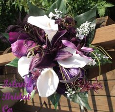 Cala Lilly and Plum Silk wedding Flowers (For sale after 01/20/13) :  wedding flowers purple white Bridesmaidbouquet