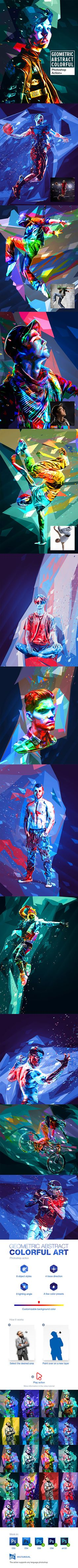 Geometric Abstract Colorful Art Photoshop Action #low poly #colorful • Download ➝ https://graphicriver.net/item/geometric-abstract-colorful-art-photoshop-action/19618360?ref=pxcr