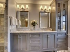 Creating the ultimate master bathroom design doesn't have to cost you a fortune. By using a few inside tips and tricks to getting the most out of your master bathroom budget space, you'll be sure to get a design you'll… Continue Reading → Master Bathroom Vanity, Vanity Sink, Gray Vanity, Bathroom Gray, Bathroom Carpet, Bathroom Marble, Master Baths, Master Bathrooms, Vanity Redo