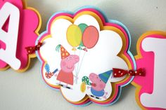 Peppa Pig Inspired Birthday Banner Peppa Pig by treelittlebirdz Peppa Pig is a British preschool Peppa Pig Birthday Decorations, Peppa Pig Happy Birthday, Kids Party Decorations, Balloon Decorations, 2nd Birthday, Birthday Ideas, Party Ideas, Peppa Pig Party Supplies, Fiestas Party