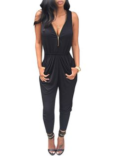 8b4588dcf03f New Women Fashion Sleeveless Sexy V Neck Zipper Slim Solid Long Pleated  Jumpsuit