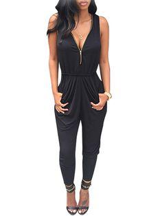New Women Fashion Sleeveless Sexy V Neck Zipper Slim Solid Long Pleated Jumpsuit | eBay