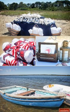 Clambake party favors!!! Love the towels. We'll have a beach day after the wedding, so this would be perfect.