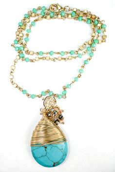 Crystal drop turquoise necklace is made from quality materials and available at Carusboutique.com. Perfect pop of color for spring!