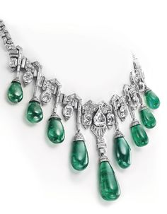 A Van Cleef & Arpels Art Deco emerald and diamond necklace once owned by Princess Faiza of Egypt.