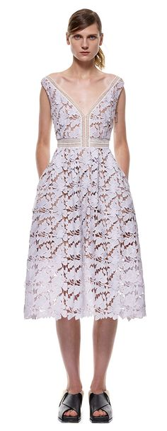 off-shoulder lace midi dress