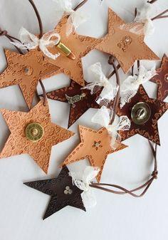 Cowgirl / Cowboy leather star ornaments  - DIY, tutorial