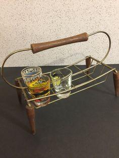 Mid Century Modern Drink Caddy Teak Brass by PineStreetPickers
