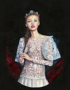 Buy The Night of the Royal Ball, a Acrylic on Paper by Danny Roberts from United States. It portrays: Fashion, relevant to: portrait, power, josette, royalty, storybook, Mixed Media, Starry Night, fairytale, marchesa, Danny Roberts, Characters Series, lace The Night of the Royal Ball was started in 2012, and after a four year break, finished in 2016.  Ink and watercolor washes with color pencil and acrylic layers, finished with chalk pastel on Arches 300lbs Cold Press Watercolor Paper. The…