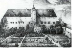 Rear of Martin Luther's home in Wittenberg, Germany: from an 1826 lithograph. It was known as the Black Cloister, even though it was never black.  It housed the Order of Augustinian Monks and was given to Luther when the order was disbanded after the reformation.  It is huge; three stories and 26 bedrooms!  The Luther's ran a rooming house for other professors and students
