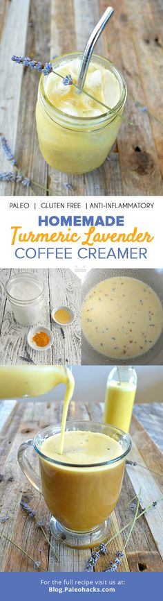 Coconut milk combines with ground turmeric and lavender for a soothing homemade coffee creamer that's equally delicious hot or cold. For the full recipe, visit us here: http://paleo.co/turmcoffeecreamer