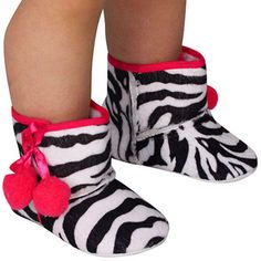 $6.00 Zebra Soft-Sole Baby Boots with Hot Pink Trim  *Choose Your Size